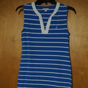 Blue with white stripes split neck sheath dress